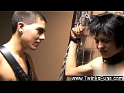 Twink video Miles gets fettered to the wall and meets the biz end of