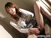 Asian brunette on the toilet wanks on her clit