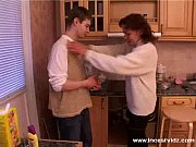 Mature mom and young guy on th