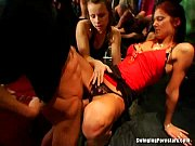 Slutty party chicks sucking cocks in club orgy