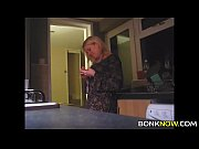 Blonde babe gets fucked in kitchen