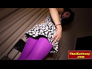 Thai ladyboy rubs her asshole in striptease