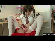 Little pigtailed asian puts he