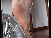 Slutty blond_#039_s shoejob with her transparent platform heels