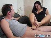 chubby wife gives a footjob and.