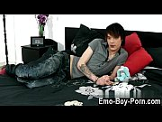 Gay clip of Hot emo twink Lewis Romeo gets down and messy in his very