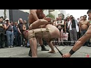 Gay hunk in leash spanking and torturing in extreme gay gangbang sex