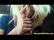 Hitchhiking blonde slut sucking cock