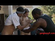 Small tits teen babe gangbanged by black dudes outdoors
