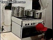 Stud sucks cock and gets fucked anally in the kitchen
