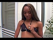 Sexy ebony girl gets fucked by 2 guys