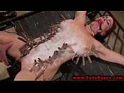 Tied up bdsm whore gets wax ov