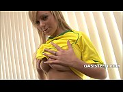 Teen blonde masturbating with a dildo
