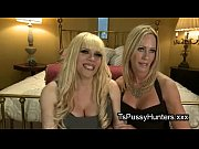 Busty blonde tranny anally fucks blonde babe