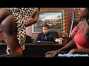 Squirting ebony babes make guys office messy