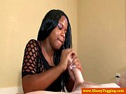 ebony tugjob teen pulling on his.