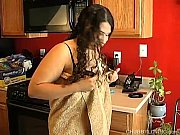 cute and cuddly chubby latina plays with her.