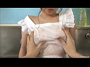 Aoi in the kitchen sink her big tits oiled up and squeezed before fucking a dick