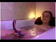 blonde teen having bath with her dildo -.