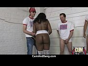 sexy ebony snatched and group fucked by white.