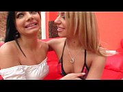 Teen hot lesbians in fishnets making out passionately