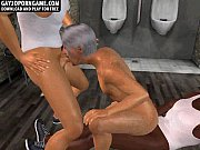 A sexy 3D interracial blowjob threesome in dirty bathroom