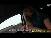 Blonde hitch hiking teen tugs the driver
