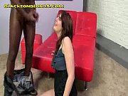 brunette gives blowjob to black guy
