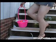 cute teen kitty hunting for easter.