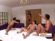 Curvy brunette uses all her holes to please three studs