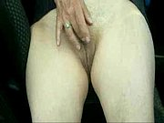 Cute granny fingering and cumming in car. Amateur older