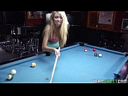 cute blonde Brynn Tyler sucks cock after a pool game
