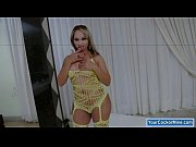 Booby tranny in yellow body suit masturbates her dick until she cums