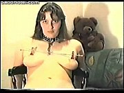 amateur girl tied up on a chair and.