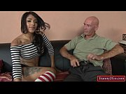 Latin shemale Jane Marie gives head and rides on a big cock