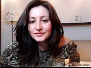 Russian brunette rides dildo on webcam