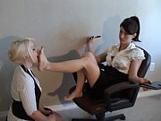lesbian reading a book while worshiping her feet 1