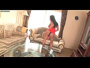Pretty shemale in red dress doing blowjob