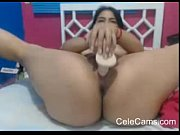 horny latina dildos pussy on webcam