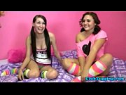 Brunette teens tug cock at slumber party