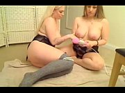 two blonde milfs share a hitachi wand lesbian fun   - combocams.com