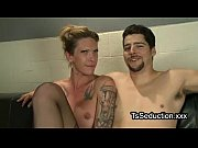 Tranny and guy jerk off dicks each other