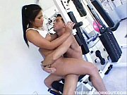 Asian Babe riding her personal trainers cock