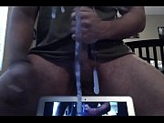 Muscled man jerks off and shoots his thick cum on a mirror.