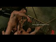 Gay master in bondage ritual sex
