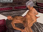 Horny 3D cartoon hunk getting fucked by an old man