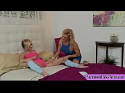 Big tits MILF licking and fingering teen&#039_s pussy on the bed