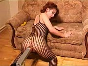 redhead slut in fishnet masturbates with dildo and.