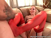 Sexy blonde bitch in red stockings