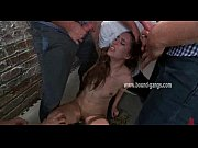 Brown haired and submissive teen gets brutally handled by a bunch of horny men